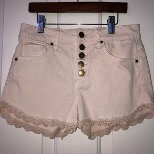 light pink high wasted jean shorts